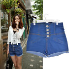 New Acid Wash Denim Hotpants Vintage Cut Off High Waisted Denim Shorts S-XL