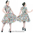RKH59 Hearts & Roses Multicolour Floral Rockabilly Evening Dress 50s Retro Plus