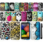For Motorola Moto E Rubberized PATTERN HARD Protector Case Phone Cover + Pen