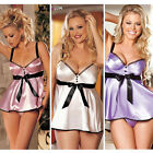 Sexy Women Lady Stain Lingerie Underwear Nightwear Babydoll Teddy Dress G-String