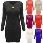 NEW WOMENS FLUFFY BROACH JUMPER LADIES LONG SLEEVE FUR MOHAIR LOOK TOP EYELASH