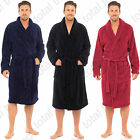 Mens Coral Fleece Dressing Gowns Supersoft Bath Robe Housecoat Bathrobe Plain