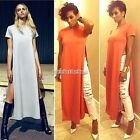 Women short sleeve Thigh Split Ladies Sexy Bodycon Party Long Maxi Slim  Dress