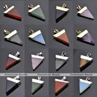 Gold/Silver Plated Pyramid Triangle Healing Reiki Chakra Gemstone Pendant Charms