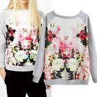 Women Fashion Floral Print Long Sleeve Outerwear Hoodies Sweatshirt T-shirt Tops