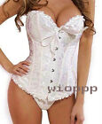 Women Sexy Ivory Boned Lace up Polyester Boned S TO 6XL Corset Bustier G-string