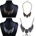 Vintage Womens Crystal Heart Wing Fashion Pendant Collar Chain Necklace Jewelry