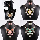 New Womens Crystal Resin Beads Teardrop Pendant Chain Bib Necklace Earrings Set