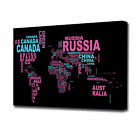 EZ0954 LARGE PINK AND BLUE WORLD MAP NAMES CANVAS PRINT