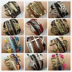 Vintage DIY lot Style Alloy Leather Knit Infinity Wrap Bracelet Handmade Jewelry