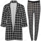NEW LADIES MONO CHECK PRINT BOYFRIEND BLAZER WOMEN TROUSERS DUSTER JACKETS PANTS