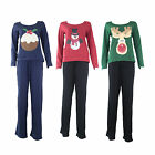 J51 LADIES 100% COTTON SANTA XMAS REINDEER DESGN LONG PYJAMA SET NIGHTWEAR 12-18