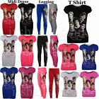 GIRLS ONE DIRECTION PICTURES & SIGNATURES PRINT LEGGING MIDI DRESS VEST T SHIRT