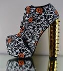 Red Kiss Mona Gold Skull Orange Floral Print Spiky Chunky Heel Boot Bootie