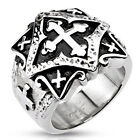 Stainless Steel Biker Tribal Cross Square Shape Wide Band Lucky Ring Sizes 9-20