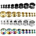 "Pair Stainless Steel 8g-5/8"" Double Flare Ear Saddle Tunnels Plugs Earlets Gauge"