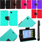 For LG Optimus Dynamic 2 L39C Flip Wallet LEATHER POUCH Case Cover Phone + Pen