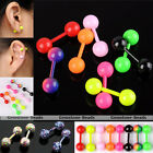 Pair Stainless Steel Ball Ear Stud Cartilage Tragus Helix Bar Earring Piercing