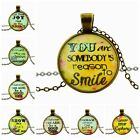 New Fashion Mix Text words Round Glass Dome Pendant Necklace Bronze chain 51+6cm