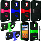 For ZTE Mustang Z998 Rugged KICKSTAND HYBRID Rubber HARD Case Cover Phone + Pen