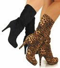 Black,Brown,Wild Diva,Animal Print Faux Suede Mid Calf Pink Sole Heel Boots,AT2