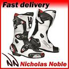 SIDI MAG-1 MAG ONE CE APPROVED RACE SPORTS MOTORCYCLE BOOTS WHITE BLACK