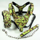 """Dog Harness Collar Leash Camo Leather spikes studs Pit Bull 26""""-34"""" chest size"""