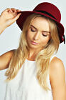 Boohoo Womens Victoria Small Floppy Hat With Velvet Trim Hat One size