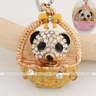 1pc Gold Plated Crystal Cute Basket Panda Animal Pendant Charm Fit Necklace DIY