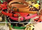 Womens Vintage Cameo Multi Color Thin Skinny Faux Leather Belt Waistband Strap
