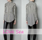 Chic Womens Long Sleeve Chiffon Striped Lapel T-shirt Tops Blouse S/M/L Fashion