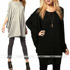 Women Solid Cotton Loose Oversize Blouse Tops Batwing Sleeve Long Casual T-Shirt