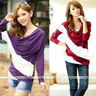 Women Cotton Blend Casual Blouse T Shirt Tee Striped Batwing Long Sleeve Tops