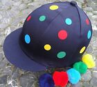 Lycra Riding Hat Silk Skull Cap Cover NAVY BLUE * POLKA DOTS With OR w/o Pompom