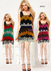 Lovely Girls Womens Zigzag Printed Chiffon Sheer Lace Summer Party Long Dress
