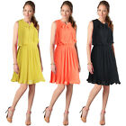 SALE Sleeveless Chiffon Pleated Bowtie Summer Day Short Dress