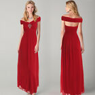 Womens Wrap Shoulder Bridesmaid Wedding Party Cocktail Evening Prom Long Dress