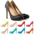 Womens PU Leather High Heels Pointed Corset Style Pumps Work Shoes US Size 4-11