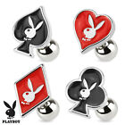 Authentic Playboy Bunny Poker Card Suit Ear Cartilage Piercing Tragus Barbell