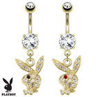 Authentic Playboy Bunny Paved CZ Gem 14K Gold Plated Dangle Belly Navel Ring 14G