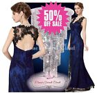 BNWT LACEY Cobalt Blue Black Lace Maxi Evening Cruise Ballgown Dress UK 8 - 18