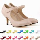 Fashion Ladies Patent Strap Mid Heels Casual Ankle Pump Court Shoes UK Size 2-9