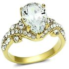 New Gold IP Ladies Teardrop CZ Solitaire Cluster Cocktail Ring Sizes 5 - 10