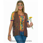 CL74 Hippie Vest Ladies 60s 70s Retro Groovy Peace Fancy Dress Disco Costume