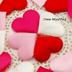 100 Satin Heart Wedding Decorations Table Scatters Scrapbooking 35mm/20mm