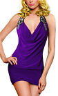 Donna Bella Sexy Halter Drape Cowl Neck Cocktail Party Evening Short Mini Dress
