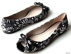 new MARC JACOBS black/white floral open-toe bow flats shoes - SUPER CUTE