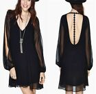 Women Sexy V-neck T-back Split Sleeve Chiffon Shift Mini Dress Party Clubwear LA