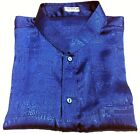Mens Jacquard Thai Silk Shirt Mandarin Collar / Short - Long Sleeve Blue S-XXXL