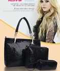 3Pcs Bundling Women's Leather Handbag Fashion Bag Crocodile Print Purse-3Color